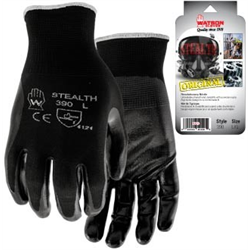 Gloves, #390 Stealth, Black Foam Nitrile Coated w/Breathable Nylon Back (LG)