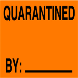 Quality Control Labels QC-19  QUARANTINED BY__ Blk/Or