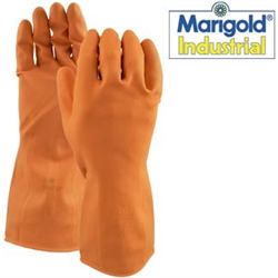 Gloves, Latex #450B-M, Bulk Orange Marigold Med