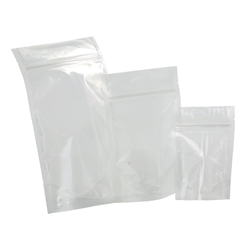 "Pouch, Stand-up, Food, Foil, Clear/White  6"" x 9.25"" + 2.33"" (1000/pkg)- 1oz"